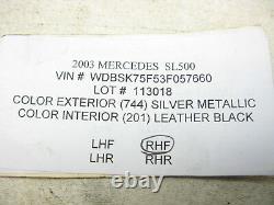 03-11 Mercedes R230 SL500 SL55 SL600 PASSENGER Lower Seat Compartment Trim 1118