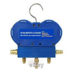 1/3HP Air Vacuum Pump 4 CFM HVAC & Manifold Gauge Set R134A Kit AC A/C Oil Sight