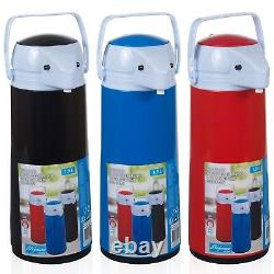 1.9L Pump Action Vacuum Insulated Thermos Flask Hot Cold Drinks Liquids Airpot