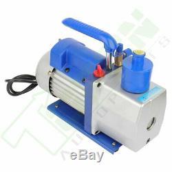 1 Stage 7 CFM 1/2 HP Blue Rotary Vane Deep Vacuum Pump HVAC AC Air tool Kit