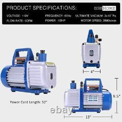 110V 1/2 HP 5 CFM Dual Stage Rotary Vane HVAC Air Vacuum Pump with Oil Bottle