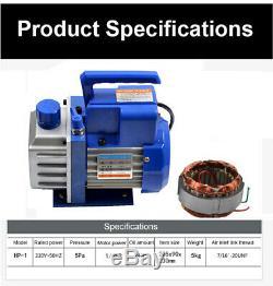 1L HVAC AC Rotary Vane 1/6HP Deep Mini Vacuum Pump Air Refrigerant Single Stage