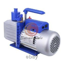 2-Stage 12CFM Rotary Vane Vacuum Pump for Refrigerator Air Conditioning 1HP 220V
