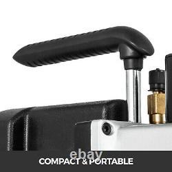 2 Stage 5 CFM Rotary Vane Vacuum Pump 1/2HP HVAC AC Refrigerant Air Conditioning