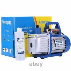 2 Stage 5CFM Rotary Vane Vacuum Pump 1 /2HP HVAC AC Refrigerant Air Conditioning