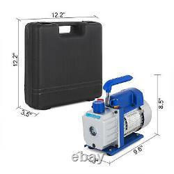 3.5CFM 1/4HP Air Vacuum Pump HVAC + R134A Kit AC A/C Manifold Gauge Set With Oil