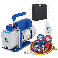 3,5CFM 1/4HP Combo Air Vacuum Pump HVAC + R134A Kit AC A/C Manifold Gauge Set