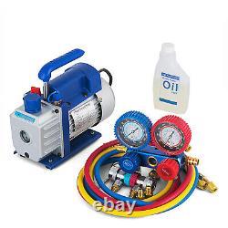 3.5CFM 1/4hp Air Vacuum Pump HVAC Refrigeration AC Manifold Gauge Set R134a Kit