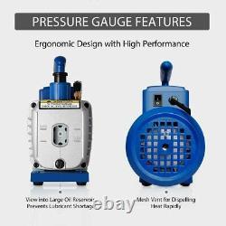 3,5CFM 1/4hp Air Vacuum Pump HVAC Refrigeration AC Manifold Gauge Set R134a Kit