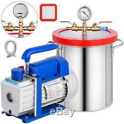 3 Gallon Vacuum Chamber 3.6CFM Vacuum Pump Air Conditioning Rotary Vane HVAC