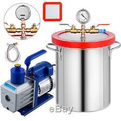 3 Gallon Vacuum Chamber 5CFM Vacuum Pump Air Conditioning Manifold 160ºF