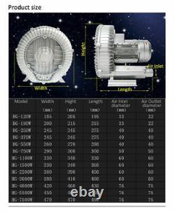 370W High Pressure Vortex Fan 16KPa Vacuum Pump Air Blower Dry Air Cleaner 220V