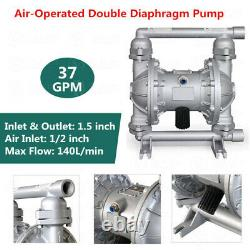 37GPM Air-Operated Double Diaphragm Pump 1.5'' Inlet Outlet Petroleum Fluids
