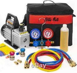 3CFM 1/4HP Air Vacuum Pump HVAC A/C Refrigeration Kit AC Manifold Gauge Set