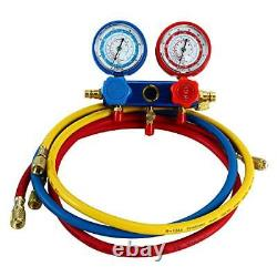 3CFM 1/4HP Rotary Vane Air Vacuum Pump HVAC A/C Refrigeration Kit AC Gauge Set