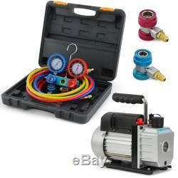 3CFM 1/4hp Air Vacuum Pump HVAC Refrigeration AC Kit Manifold Gauge Set R134a