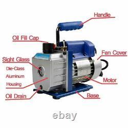 3CFM Rotary Vane Vacuum Pump Single Stage HVAC 1/4HP Air Conditioning A/C Deep