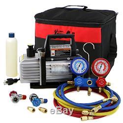 3CFM or 4CFM Air Vacuum Pump HVAC A/C Refrigeration Kit AC Manifold Gauge Set