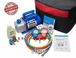 4CFM 1/3HP Air Vacuum Pump HVAC A/C Refrigeration Tool Kit AC, Auto Repair