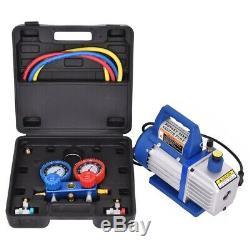 4CFM 1/3HP Air Vacuum Pump HVAC Refrigeration AC Manifold Gauge Set Kit R134 R22
