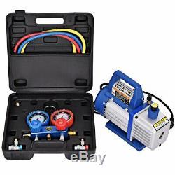 4CFM 1-3HP Air Vacuum Pump HVAC Refrigeration Kit AC Manifold Gauge Set R134