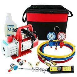 4CFM 1/3HP Rotary Vane Air Vacuum Pump HVAC A/C Refrigeration Kit AC Gauge Set