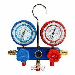 4CFM 1/3HP Rotary Vane Air Vacuum Pump HVAC A/C Refrigeration Kit Manifold Gauge