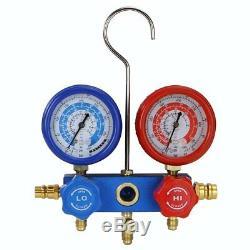 4CFM Air Vacuum Pump A/C Refrigeration Kit AC Manifold Gauge Set + Leak Detector