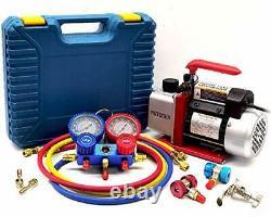 4CFM Single-Stage Air Vacuum Pump for HVAC/Auto AC Refrigerant Recharging