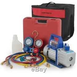 4CFM Vacuum Pump with Manifold Gauge R134A Air Condition Refrigerant Carrying Bag
