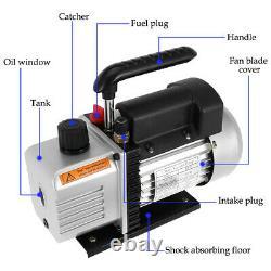 5 CFM Vacuum Pump Rotary Vane 1 Stage 1/3HP HVAC AC Refrigerant Air Conditioning