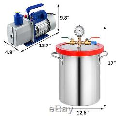 5 Gallon Vacuum Chamber and 7CFM Single Stage Pump Degassing Silicone Air AC Kit