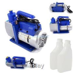 5CFM 1/3HP Air Vacuum Pump HVAC + R134A AC A/C Dual Manifold Gauge Set R12 R22