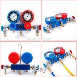 5CFM 1/3HP Air Vacuum Pump HVAC + R134A Kit AC A/C Dual Manifold Gauge Set