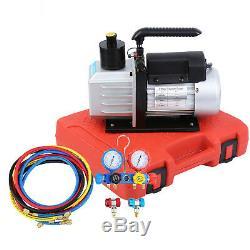 5CFM Air Vacuum Pump HVAC R134A R410A AC A/C 4 Valve Manifold Gauge 110V 60HZ