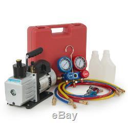 5CFM Vacuum Pump 1/2 HP Dual Gauge R134a A/C HVAC Air Condition Tester Manifold