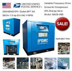 7.5Hp 5.5KW Screw Air Compressor Variable Frequency Drive Vacuum Pump 1Ph HPDMC