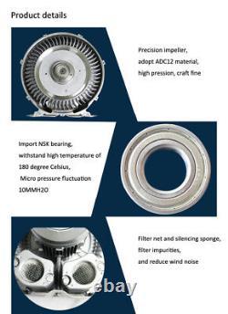 750W Industrial High Pressure Vortex Vacuum Pump 220V 1 Phase Dry Air Blower