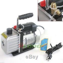 AC A/C ELECTRIC ROTARY VANE DEEP Air Vacuum Pump For R134A & R12/R22 NEW