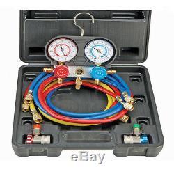 AUTO R134A AC A/C Manifold Gauge Set Auto Truck Car & Air Vacuum Pump R12 R 134A