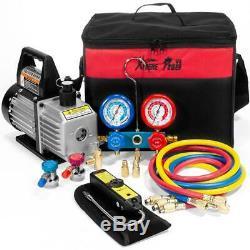 Air Compressor 1/3 hp Pump HVAC A/C Refrigerant Kit Manifold Gauge Leak Detector