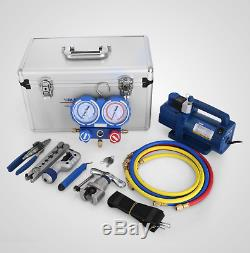 Air Cond Vacuum Pump Manifold Gauge Ratched Flaring Pipe Cutter Wk-7p