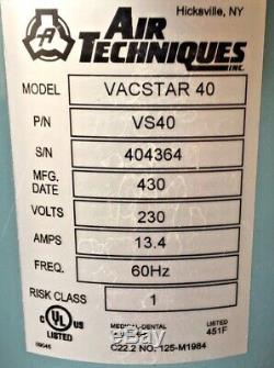 Air Techniques VacStar 40 VS40 Dental Wet-Ring 2 Horsepower Vacuum Pump 230 Volt