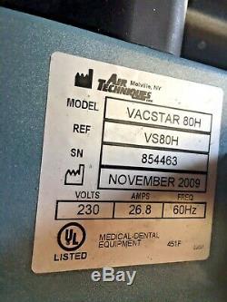 Air Techniques VacStar 80H VS80H Dental Wet-Ring Vacuum Pump & HydroMiser 7 user