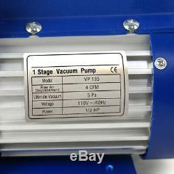 Air Vacuum Pump HVAC Refrigeration KIT A/C Manifold Gauge Set Combo 4CFM 1/3 HP