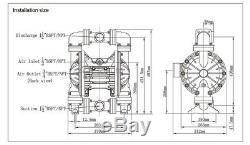 Aluminium Air Operated Double Diaphragm Pump 1/2'' Air Inlet 94.6GPM Santoprene