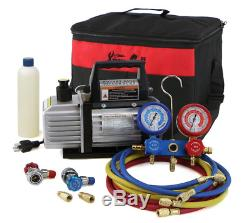 Auto Vacuum Pump 1 Stage AC Automotive with Gauges 3cfm One Vac Air Conditioner
