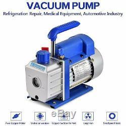 CFM 1/3HP Air Vacuum Pump HVAC + R134A Kit AC A/C Manifold Gauge Set US