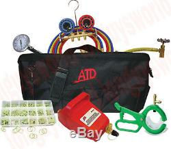 COMPLETE AC MAINTENANCE KIT R134A Manifold Gauge Hoses Air Vacuum Pump And MORE
