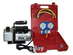 Combo 3cfm 1/4hp Air Vacuum Pump Hvac Refrigeration Kit Ac 134a Manifold Gauge